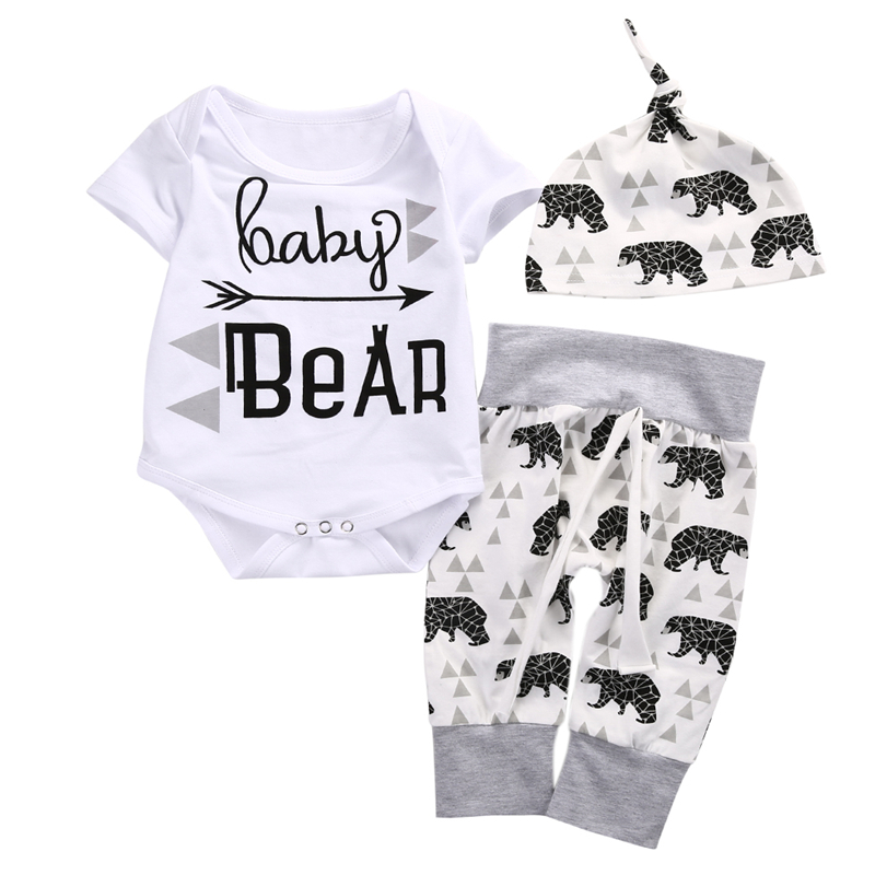 Cute Infant Girl Boy Letter Baby Bear Cotton Romper Tops Pants Hat 3pcs Bebes Newborn Clothes 2017 New Outfits Set Costume 0-18M infant baby boy girl 2pcs clothes set kids short sleeve you serious clark letters romper tops car print pants 2pcs outfit set