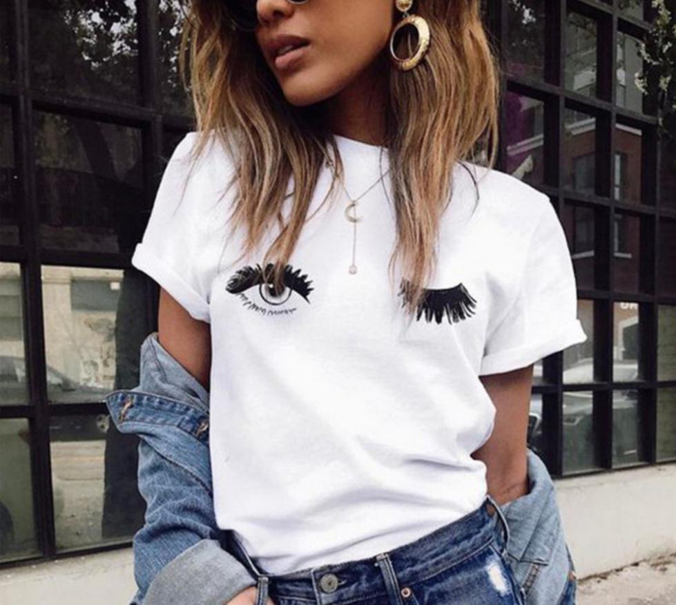 Cartoon Women 2019 Eyes Summer Casual Short-sleeved T-shirt White Blinking Print Cute Harajuku Large Size  XS-4XL T Shirt