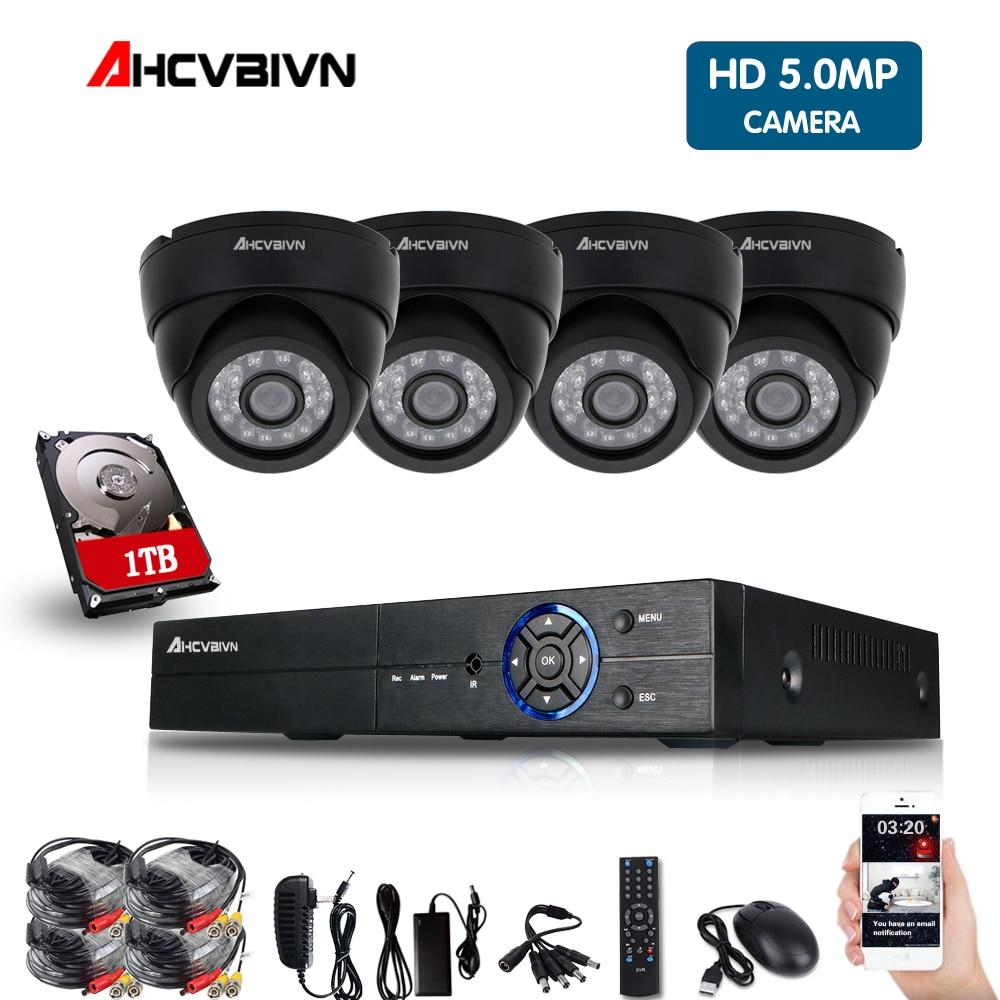 5mp HD CCTV System 4CH 8CH AHD DVR 4PCS 5.0mp 2560*1920 Security Camera indoor Video Surveillance System Easy Remote View vga 4ch color cctv security camera quad processor remote control