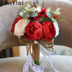 JaneVini Red Blue Wedding Flowers Bridal Bouquets Artificial Silk Flower Wedding Bouquet For Brides Crystal Lace Peony Bouquet