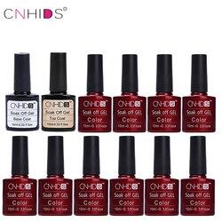 CNHIDS Nail Polish Color Nail Gel Polish Vernis Semi Permanent 10PCS And Top Coat Base Coat Gel Lak Gel Varnishes UV Gel
