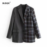 Fashion Single Breasted Patchwork Plaid Blazer Long Sleeve Slim Fit Office Ladies Blazer 2018 Autumn Jacket Women Blazers