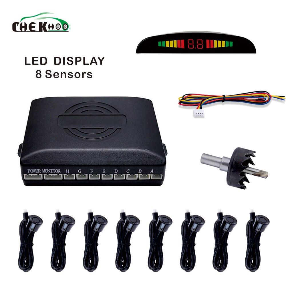 Car Parktronic LED Parking Sensor With 8 Sensors Reverse Backup Car Parking Radar Monitor Detector System
