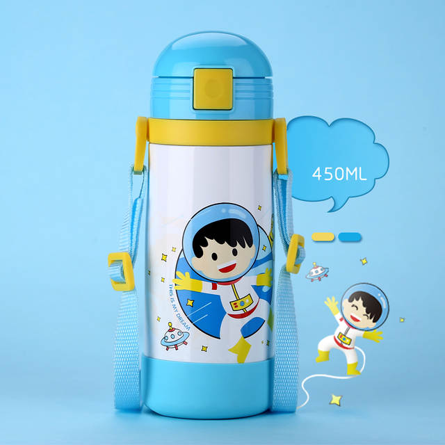 1ddefd716 Online Shop 450ML Antibacterial Strap Children s Thermos Cup with Straw  Stainless Steel Baby Milk Vacuum Flask Durable Kids Water Bottle