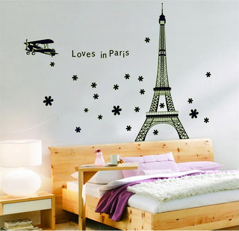 Wall Sticker Loves In Paris Night Eiffel Tower Glow In The Dark Fluorescent  Luminous Bedroom Decor Wall Decals In Wall Stickers From Home U0026 Garden On  ...