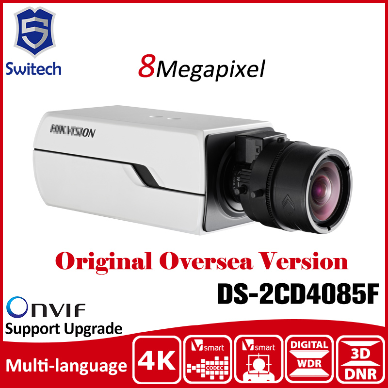 DS-2CD4085F 8MP 4K Smart Box Camera original oversea version CCTV camera security H.264 PoE Defog 3D DNR indoor IP Camera smart junior 2 cl cd