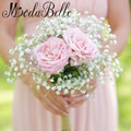 Estrella de Flores Artificiales Ramo de la dama de Honor Blanco Rosa Ramo De Novia de Seda Hecho A Mano Que Sostiene Las Flores de Novia de la Boda Accesorios