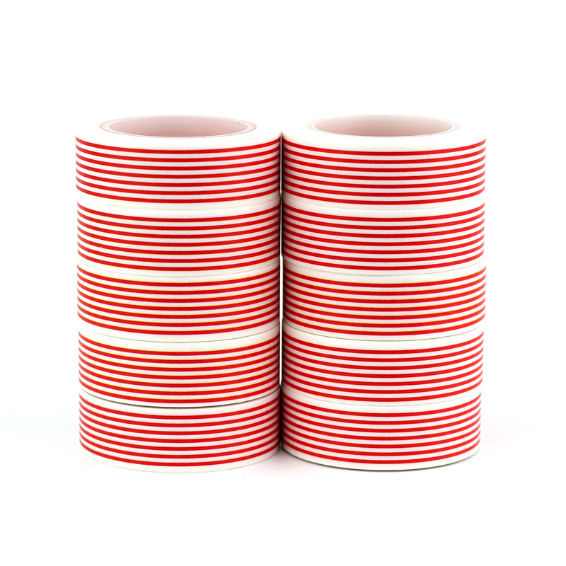 NEW 10PCS/lot Decor Red Lines Diagonal Stripes And Dots Washi Tapes Paper For Scrapbook Adhesive Xmas Masking Tapes Stationery