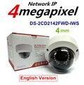 En stock Cámara DEL CCTV Hikvision DS-2CD2142FWD-IWS Lente 4mm MP WDR PoE IR Domo IP Cam WiFi Incorporado, Ranura Para Tarjetas Micro y Alarma de E/s