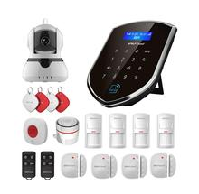 Wolf-Guard Wireless 2.4G Wifi Home Alarm Security Burglar System GSM WIFI Host 720P IP Camera SOS Door/PIR Motion Detector