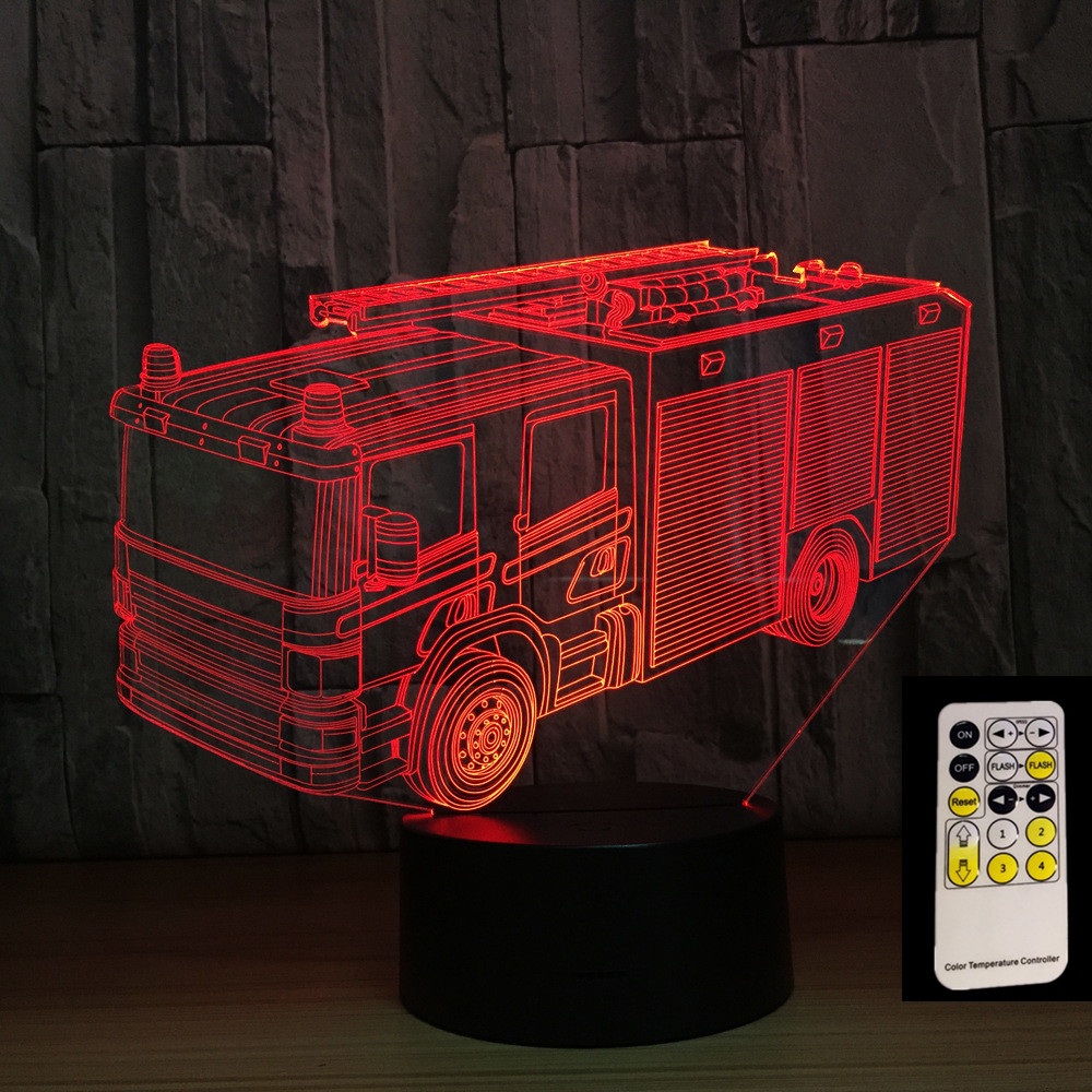Fire Truck 3D Night Lamp 7 Colors LED USB Table Night Lights as Children's Room Remote Control Toys Decoration Drop Shipping