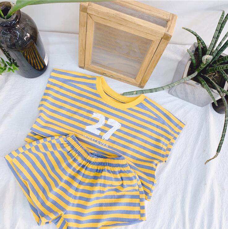 e463da28e9cb 2019 Korean style boys girls striped 2 pcs set t-shirt+shorts cotton fashion