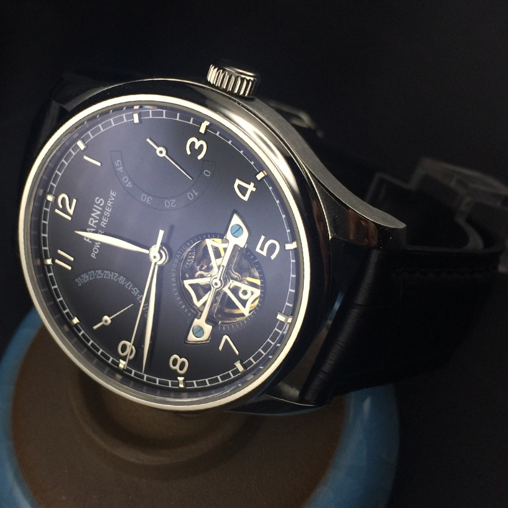 43mm Parnis Power Reserve Black Dial Automatic Moement Men's Watch PA4305 hot sale 46mm parnis black dial power reserve white marks automatic men wrist watch