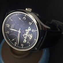 43mm Parnis Power Reserve Negro Dial Automático Gaviota Reloj hombre PA4305 Moement