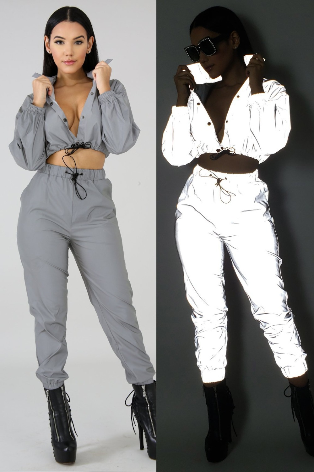 New Fashion Women Sexy Reflective Tracksuit Night Version Long Sleeve Crop Top + Cargo Pants Clubwear Streetwear Two Piece Set