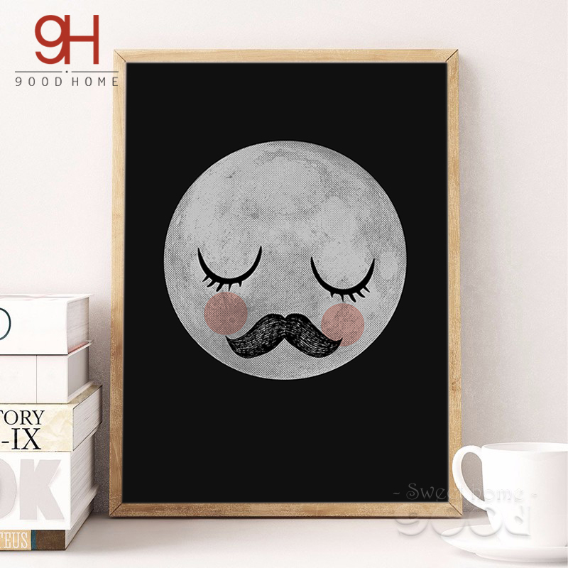 Cartoon Shying Moon Canvas Art Print Poster Wall Pictures For Home Decoration Child Room Wall