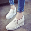2016 Autumn Skull Rivets Casual Flats Shoes Women White Black Comfortable Platform Female Shoes Loafers Chaussure Femme EE342