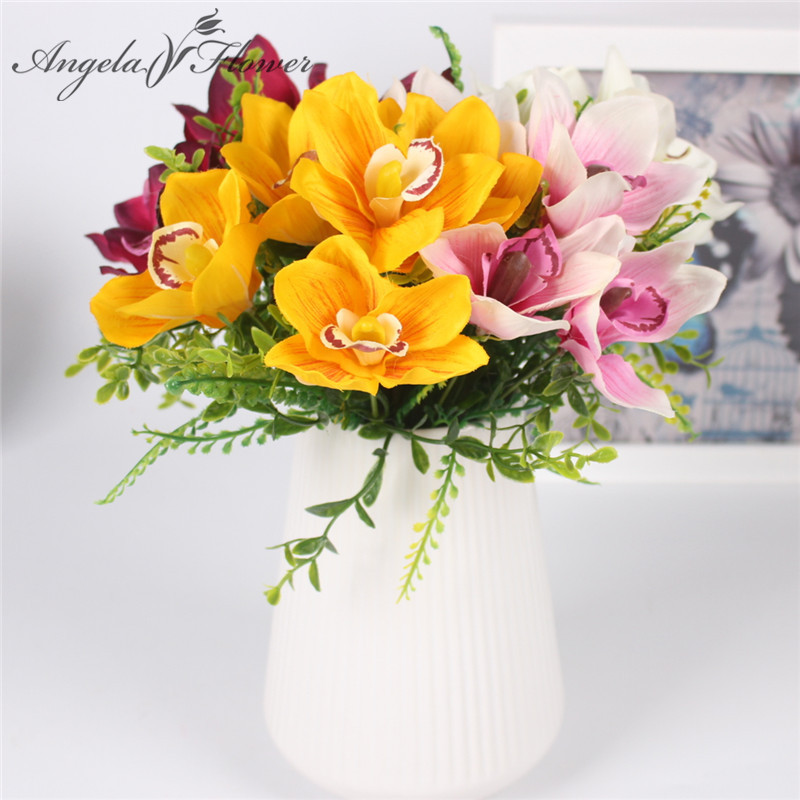 New 5 Heads Artificial Flower Bouquet Cymbidium Orchid Diy Wedding
