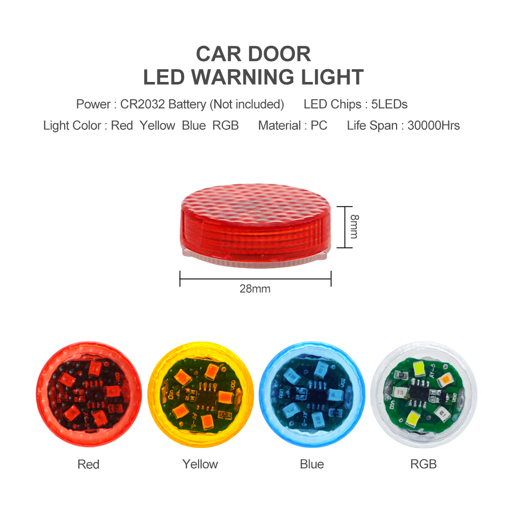NEW 5 LEDs Car Door Opening Warning Lights Wireless Magnetic Induction Strobe Flashing Anti Rear-end Collision Safety Lamps