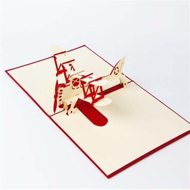 1pcs 3d paper laser cut carving aircraft plane postcard greeting