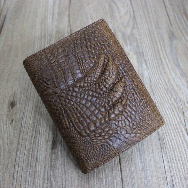 Nuevas llegadas mens genuinos Clips Dinero de cuero patrones de Cocodrilo piel de vaca para hombre carteras de diseño monedero Europa lujo de la marca como regalos