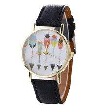 Moda Casual Quartz Relógio de Pulso das Mulheres Teste Padrão Da Pena de Couro Pulseira Relógios das Mulheres Dress Watch Relogio feminino Presente Da Menina