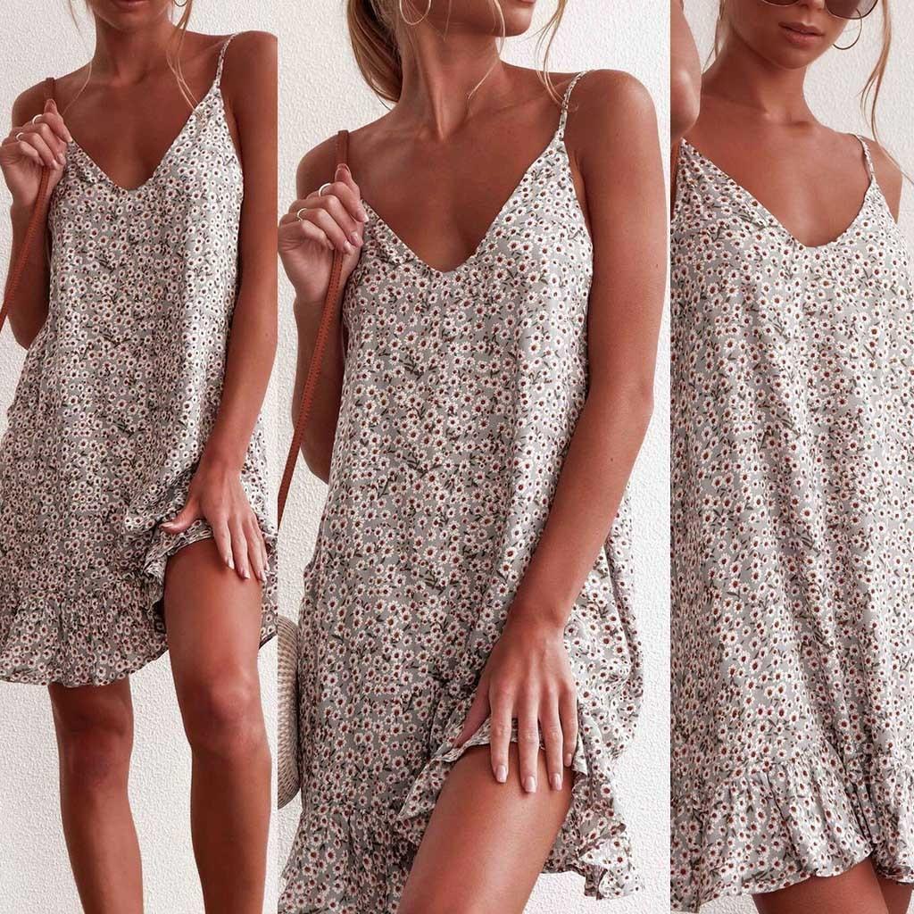 HTB1 vMPKHvpK1RjSZFqq6AXUVXaR MUQGEW floral dress women dresses summer 2019 Women's Printing Off-Shoulder short Sleeve Mini Dress Princess Dress#Y3