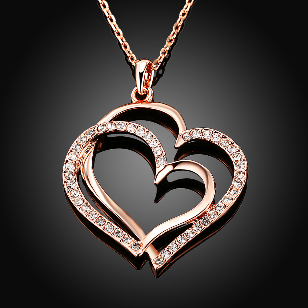 INALIS Takı Hakiki Gül Altın Renk Çift Kalp Kolye Kolye ile - Kostüm mücevherat - Fotoğraf 3