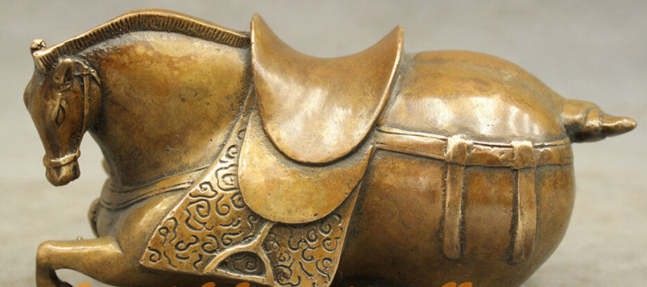 R0720 Details About Folk Culture Chines Bronze Copper Wealth Year Zodiac Horse Art Statue Sculpture