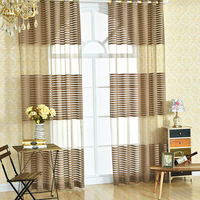 Translucidus Brown Beige Modern Simple Polyester Cloth Striped Bedroom Sheer Window Curtains For Living Room Tulle