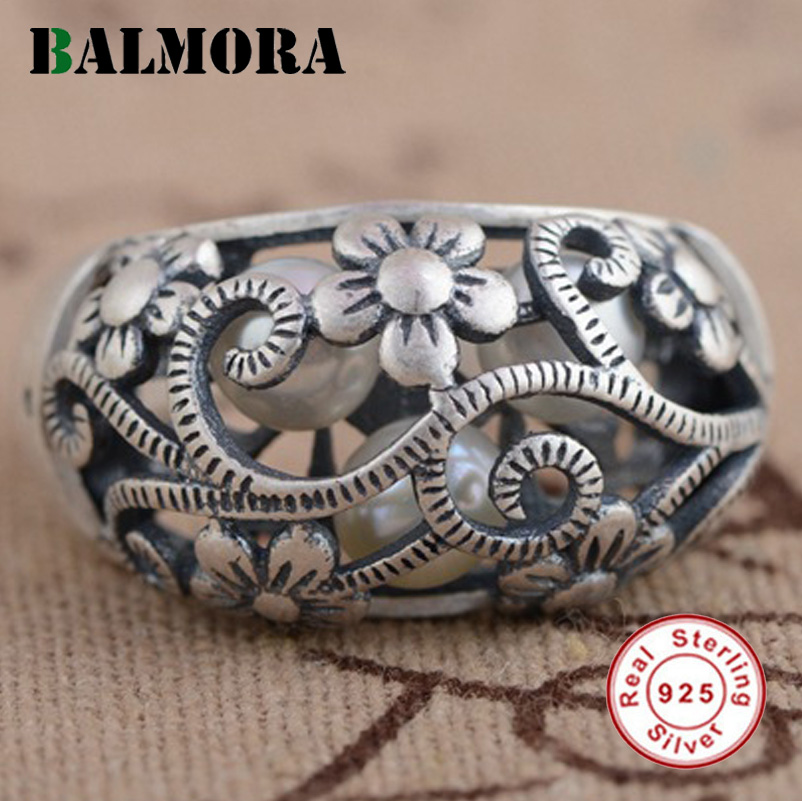 BALMORA 925 Sterling Silver Hollow Flower Rings for Women Mother Lover Party Gift Simulated Pearl Ring Fashion Jewelry SY21101 цена