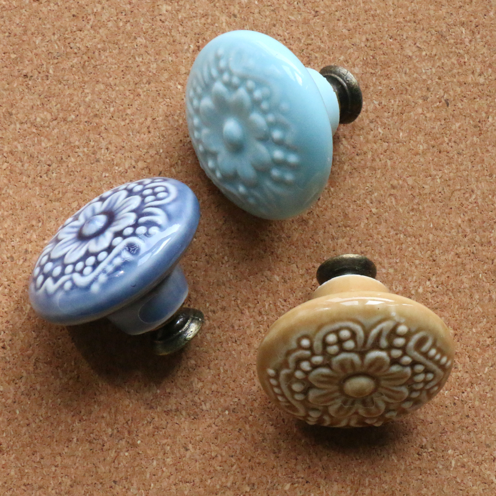 Antiques Small Hand Painted Ceramic Knob Turquoise White Emboss Flowers Cabinet Handle Low Price