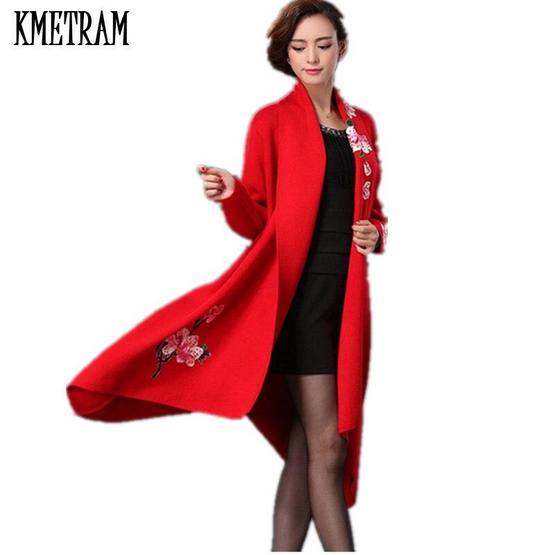 red Marque Élégantes Longtemps Femelle Femmes Arrivée Surtout Veste Gq1420 2018 Broderie Manteau Nouvelle navy Style grey Pardessus Black Européen Laine 4fxwqv4RU