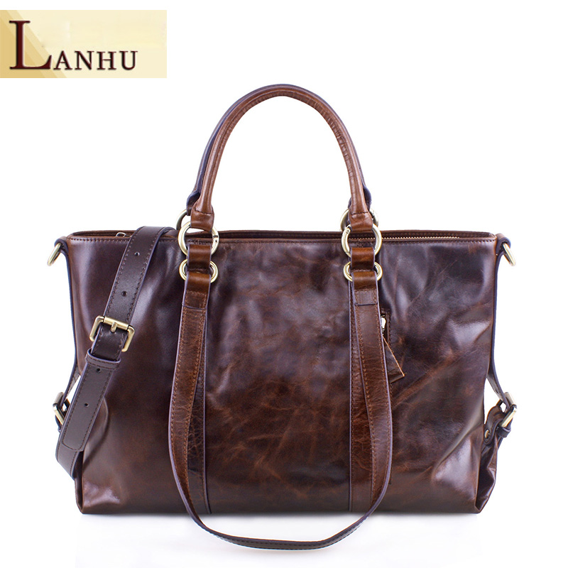 Oil Wax Cow Leather Ladies Handbags Large-Capacity Geunine Leather Handbag Woman Shoulder Bag European And American Hand Bags dollar price new european and american ultra thin leather purse large zip clutch oil wax leather wallet portefeuille femme cuir