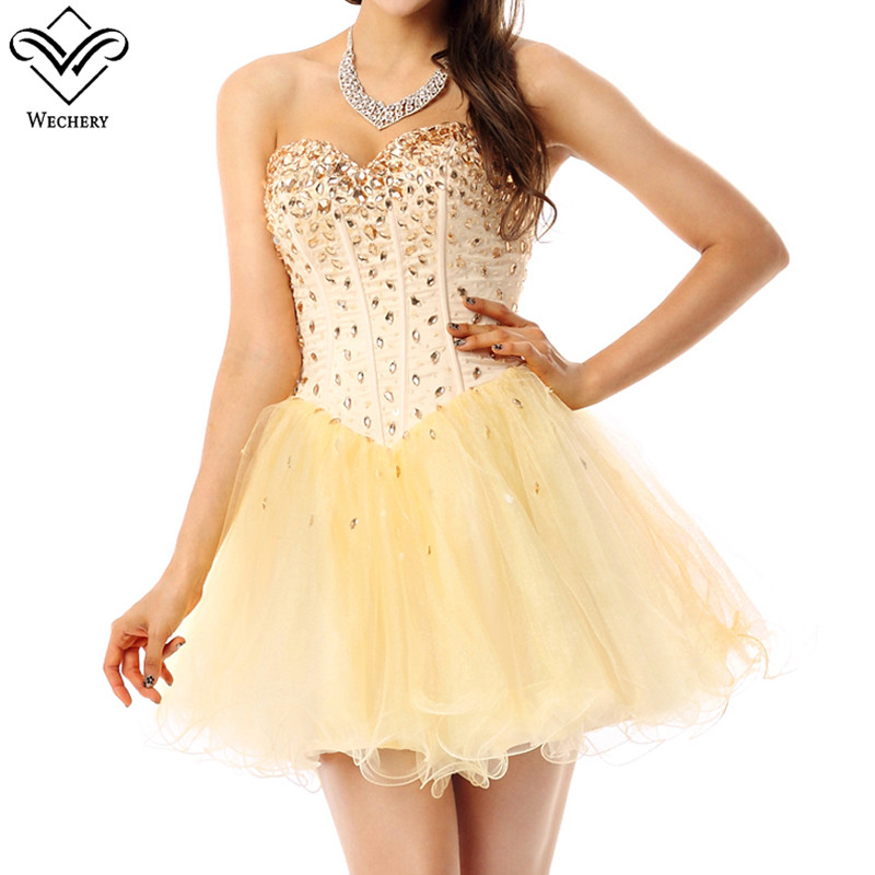 Wechery Dress 2018 New Sweet Yellow Dresses Women's Strapless Sleeveless Short Dress Plus Size Sequins Formal Dress