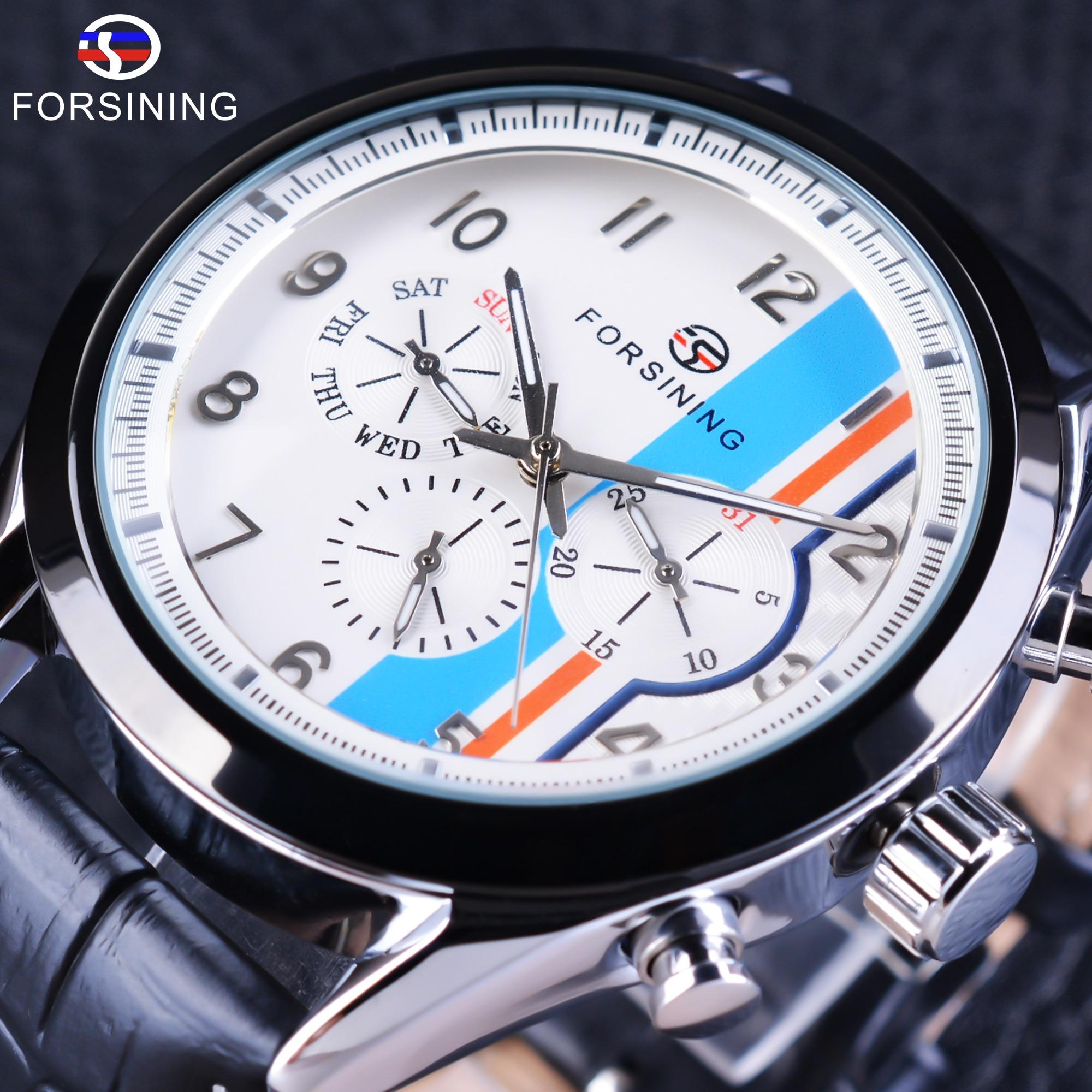 Мужские часы Forsining, модные автоматические часы с тремя циферблатами и синим дисплеем из натуральной кожи