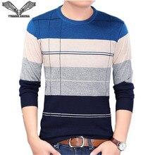 VISADA JAUNA 2017 New Autumn Fashion Casual Mens Sweater O-neck Slim Fit Knitting Sweaters Stripe Plus Size Men's Sweater N5862