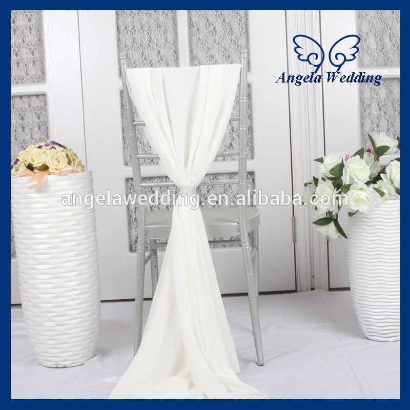 SH003F Nice Wholesale 2015 cheap fancy wedding ivory chiffon chair sash