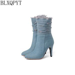 Image 2 - BLXQPYT زائد كبيرة وصغيرة الحجم 28 50 الدنيم التمهيد قصيرة أشار تو المرأة الخريف الشتاء عالية الكعب أحذية الزفاف امرأة Y72