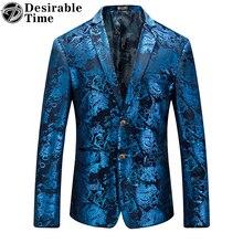 Fashion Brand Men Velvet Blazer Jacket Designs Slim Fit Plus Size M-5XL Casual Gold Floral Blazer for Men DT072