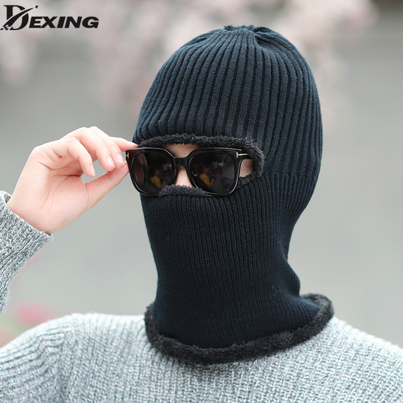 Balaclava Knitted hat scarf cap neck warmer Winter Hats For Men women skullies beanies warm Fleece boys girls cap 35colors silver gold soild india scarf cap warmer ear caps yoga hedging headwrap men and women beanies multicolor fold hat 1pc