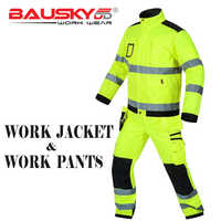 Bauskydd High visibility workwear sets work sets fluorescent yellow reflective safety work jacket and work pants with knee pads