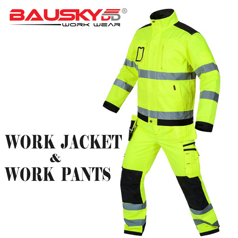Bauskydd High visibility workwear sets work sets fluorescent yellow reflective safety work jacket and work pants with knee pads fluorescence yellow high visibility