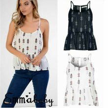 Women Summer Printing Crop Top V Neck Baggy Straps Camis Ladies Casual Loose Tunic Tops Plus Size