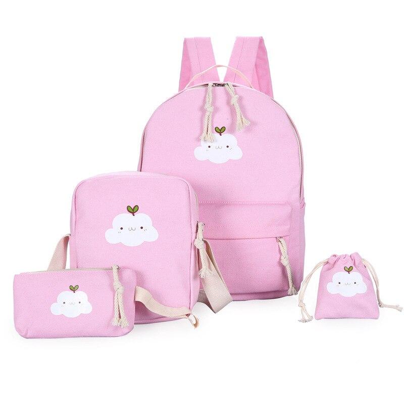 Aequeen 4pcs/sets Women Backpacks Canvas Book Bags Cute Cloud Print Schoolbag For Teenager Girls Composite Bag Casual Mochila #3