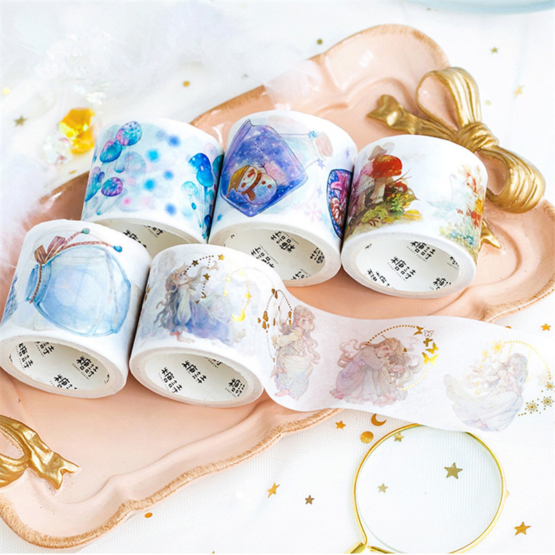 JBFISH Creative Cute Animals Decorative Adhesive Washi Tape Diy Scrapbooking Masking Paper Tape School Office Supply 6014 colorful gilding hot silver alice totoro decorative washi tape diy scrapbooking masking craft tape school office supply