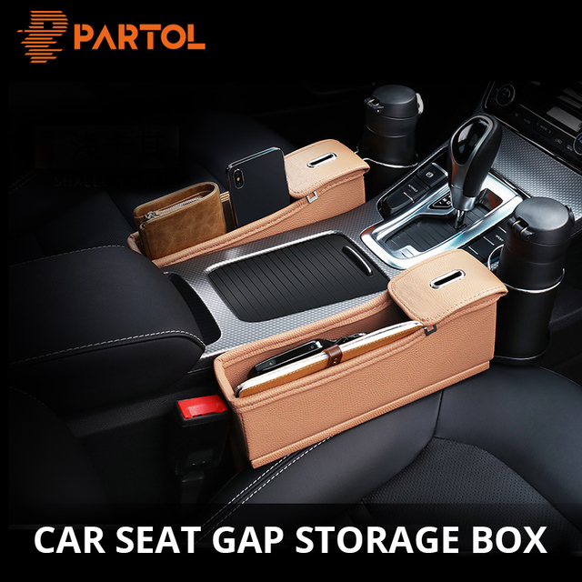 Partol 1pc Car Seat Crevice Organizer with Coin Box/Cup Holder Black/Beige Storage Container for Seat Gap Auto Stowing Tidying