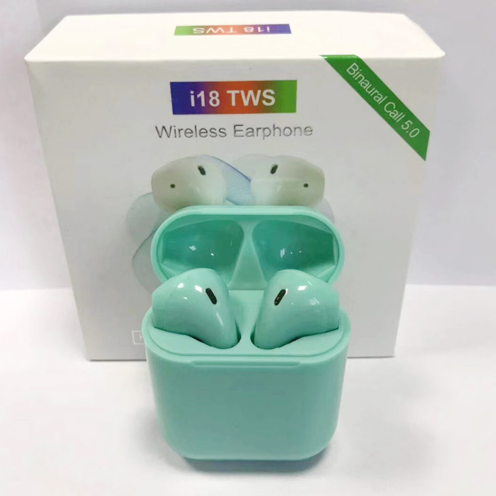 <font><b>i18</b></font> <font><b>TWS</b></font> Original Wireless Bluetooth <font><b>Earphones</b></font> Touch Control Use Siri Sport Mini <font><b>TWS</b></font> Earbuds 1:1 With Charing Box Gaming Headset image