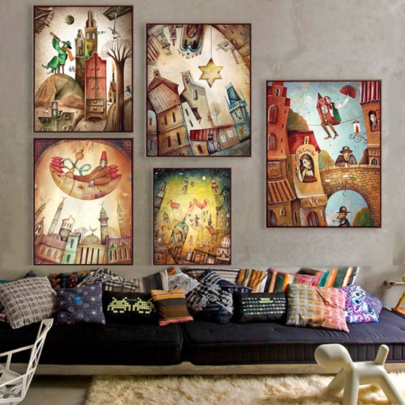 Tegneserie Fantasy Kingdom Wall Art Canvas Painting Nordiske plakater og tryk Abstrakt kunst væg billeder til Kids Room Wall Decor