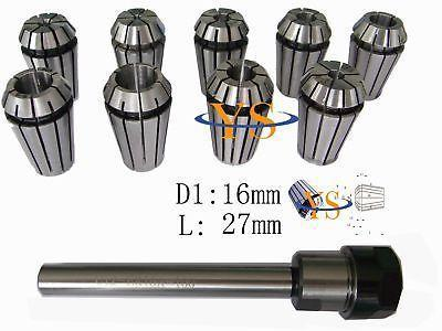 9pcs ER16 collets and 16mm shank ER16 100L collet chuck купить